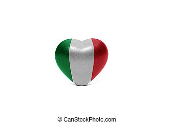 heart with national flag of italy on the white background