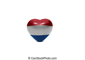 heart with national flag of netherlands on the white...