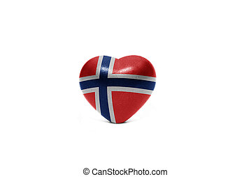 heart with national flag of norway on the white background