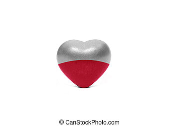 heart with national flag of poland on the white background