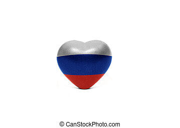 heart with national flag of russia on the white background