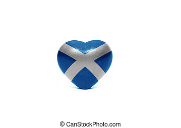 heart with national flag of scotland on the white background