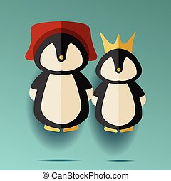 illustration of two male and female penguins in hat and crown