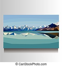 illustration of landscape picture with mountains and lake on canvas