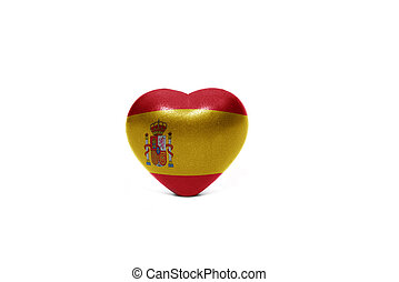 heart with national flag of spain on the white background