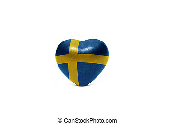 heart with national flag of sweden on the white background