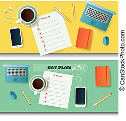 two illustrations of table with day plan blank and different objects