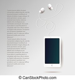realistic smartphone and headphones illustration with text
