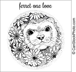 Ferret handdrawn illustration with flowers
