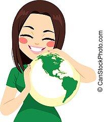 Girl Hugging World