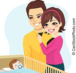 Couple Watching Baby Sleeping - Cute parents couple watching...