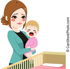 Sleepy Mother Consoling Baby Crying