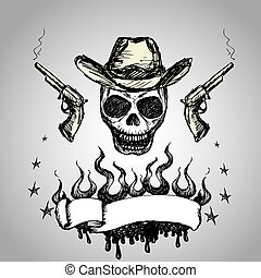 Cowboy Skull with revolvers and ribbon for text, hand...