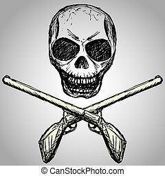 guns and a skull, hand drawing