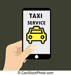 Application taxi service on  phone, vector illustration