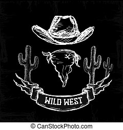 Wild West Set Collection white on black background, vector...