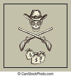Wild West. vector - Skull wearing a cowboy hat, two guns and...