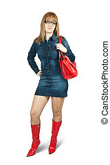 Girl in blue dress ang red high boots with purse. Isolated...