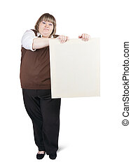 large girl holds blank canva