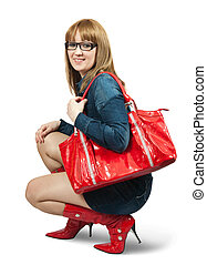 Girl in red high boots with purse - Girl in blue dress ang...
