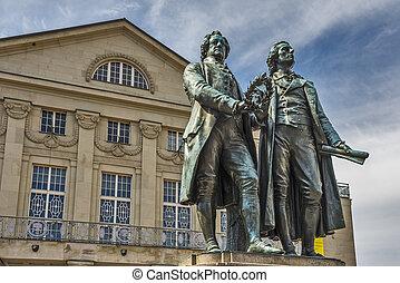 Goethe, en, Shiller, monument,