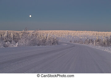 Snow covered road - Snow-covered road in the Arctic. Russia,...