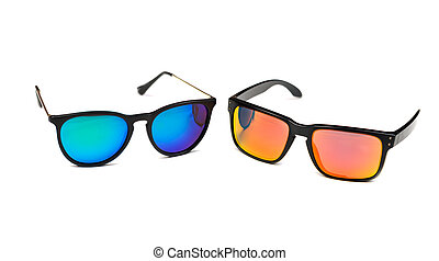 Two sunglasses, blue and yellow lens. Isolate on white.