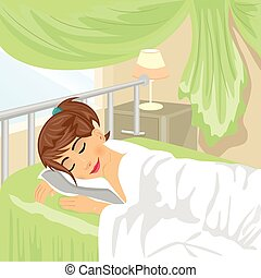 Teenager girl sleeps at bedroom with green curtain and lamp on a night table