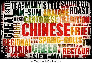 Chinese Food Menu Art Background in Grunge