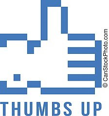 retro pix element thumbs up icon concept of 8bit video game,...