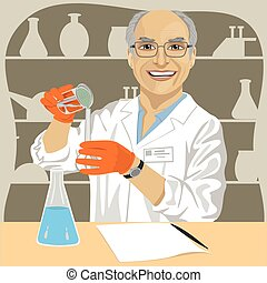 Senior male scientist mixing chemicals in laboratory