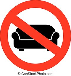 No sofa sign - No lying on sofa sign isolated on white...