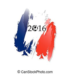 Football with frame in the form of french flag isolated on white background. Euro 2016 France football championship. Vector Illustration