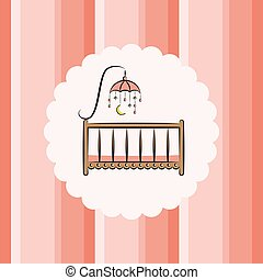 Baby cot with toy. Striped background. - Baby cot with toy...