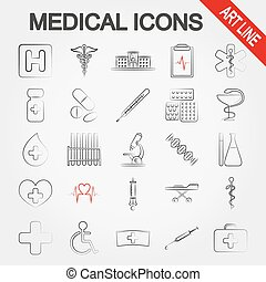 Medical icons. Art line.