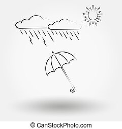 Rainy weather with clouds and umbrella. Weather icons set...