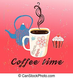 Graphic time coffee and cake on a red background