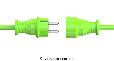 Green electric plug and socket, green energy concept. 3D rendering