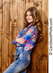 independent spirit - Pretty teen girl in casual jeans...