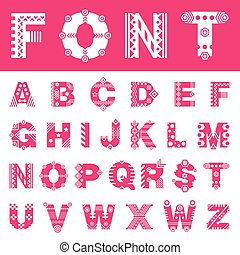 Latin alphabet with different ornament for every letter....