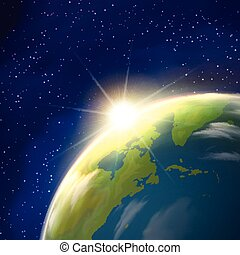 Sunrise Earth Space View Realistic Poster