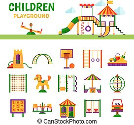 Children Playground Equipment - Color icons depicting...