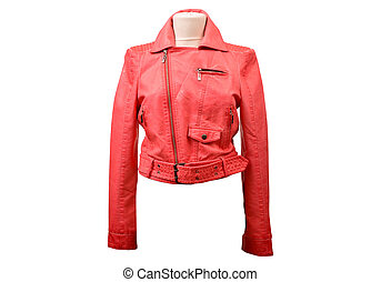 Isolated leather jacket - Red leather jacket from a stylish...