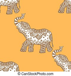 pattern with indian elephants. - Vector pattern with indian...