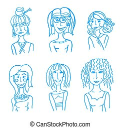 hand drawn doodle faces - set of hand drawn doodle Woman...