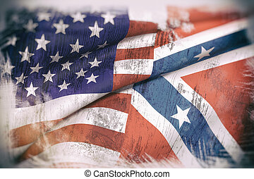 usa and confederate flag - 3d rendering of an united states...