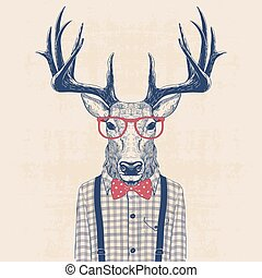 illustration of deer dressed up like nerd in shirt and jazz...
