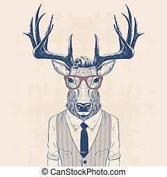 illustration of deer dressed up like business man in vest and tie