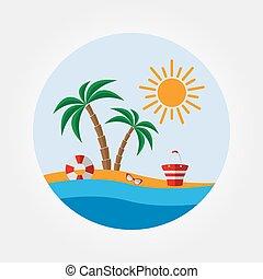 Beach icon set.