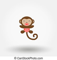 Monkey in a diaper with a pacifier. Icon.